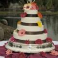 Gerbera and Solids Wedding Cake