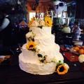 Cascading Sunflower Wedding Cake